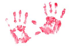 Red Hand Prints. Left and right hand prints made with red paint on white background Royalty Free Stock Images