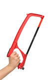 Red Hand saw for wood and metal cutting Stock Images