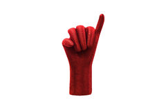Red hand showing little finger isolated on white background.  Royalty Free Stock Images