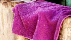 Red hand towel that is placed stock images