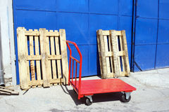 Red hand truck Stock Photo