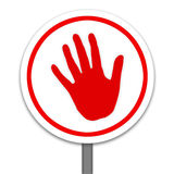Red hand warning ,Stop Sign. Isolated in white Stock Images