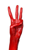 Red hand on white background, isolated, paint Royalty Free Stock Photo