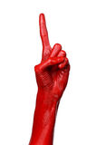 Red hand on white background, isolated, paint Royalty Free Stock Image