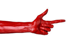 Red hand on white background, isolated, paint Royalty Free Stock Photography