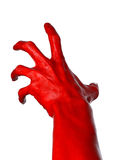 Red hand on white background, isolated, paint Stock Photos
