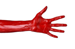 Red hand on white background, isolated, paint Royalty Free Stock Images