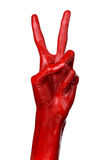 Red hand on white background, isolated, paint Stock Image