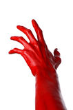 Red hand on white background, isolated, paint Stock Photography