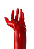 Red hand on white background, isolated, paint Stock Photo