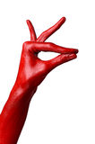 Red hand on white background, isolated, paint Stock Images