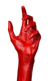 Red hand on white background, isolated, paint Royalty Free Stock Photos