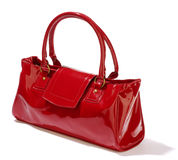 Red handbag. Over white background royalty free stock images