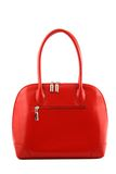 Red handbag. Front view at woman's nice red handbag on a white background stock image