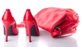 Red handbag and high heel shoes Stock Photo