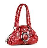 Red handbag isolated on white Stock Photos