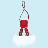 Red handbag and shoes with cloud copyspace Stock Photos