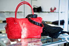 Red handbag in the shop Royalty Free Stock Photography