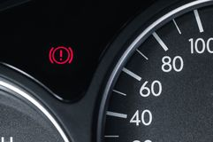 A handbrake icon in amomobile from a circle and an exclamation mark inside stock photography