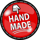 Red hande made button Stock Photography