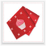 Red handkerchief with printed cupcake Stock Photos