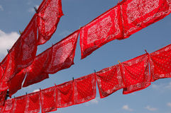 Red handkerchiefs on line. Low angle view of patterned red handkerchiefs on clothes line with blue sky background Royalty Free Stock Image