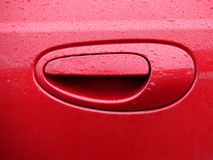 Red Handle. Red Car Door Handle Royalty Free Stock Image
