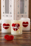 Red handmade crochet heart for candle for Saint Valentine's day Royalty Free Stock Images