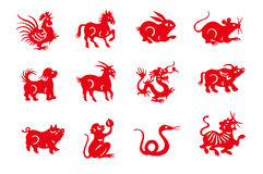 Red handmade cut paper chinese zodiac animals. Isolated on white background Royalty Free Stock Photography