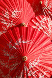 Red handmade parasol Stock Photo