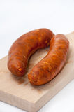 RED HANDMADE SAUSAGES WOODEN BOARD Royalty Free Stock Images