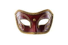 Red handmade Venetian mask isolated on white background royalty free stock photos
