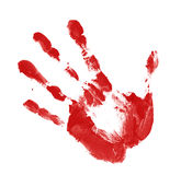 Red handprint. On white background Stock Photography