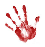 Red handprint. On white background Stock Photos