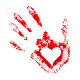 Red handprint with a heart inside. On white background Royalty Free Stock Images