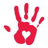Red Handprint With Heart Symbol Stock Photos