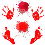 Red handprints and footprints little baby. Royalty Free Stock Image