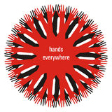 Red hands. Concentric pattern of red and black hands Royalty Free Stock Image