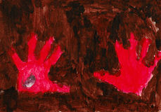Red hands on the brown background. Children's picture of my son when he was 3,5 years old Royalty Free Stock Photography