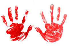 Red hands child printed Royalty Free Stock Images