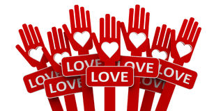 Red hands with love Royalty Free Stock Images