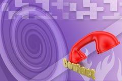 Red handset. 3d Illustration Stock Photos