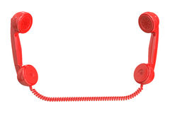 Red handsets, 3D rendering Royalty Free Stock Photos