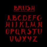 Red handwritten calligraphic alphabet. Made in Stock Image