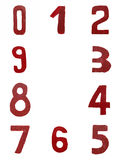 Red handwritten numbers Stock Image