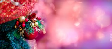 Free Red Hanging Ball Ornament For Christmas Tree. Shiny Light Flare Merry Xmas Decoration Background With Copy Space For Stock Image - 103803781