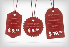 Red hanging cardboard pricing tags Royalty Free Stock Photo