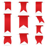 Red hanging curved ribbon banners set eps10 Royalty Free Stock Photo