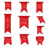 Red hanging curved ribbon banners set for merry xmas eps10. Red hanging curved ribbon banners set for merry xmas Stock Photo