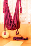 Red hanging hammock indoor Royalty Free Stock Photos
